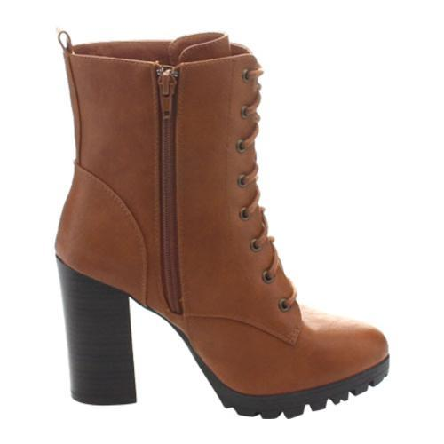 21354540ca6 Women's Wild Diva Kimber-06 Heeled Combat Boot Whiskey Faux Leather