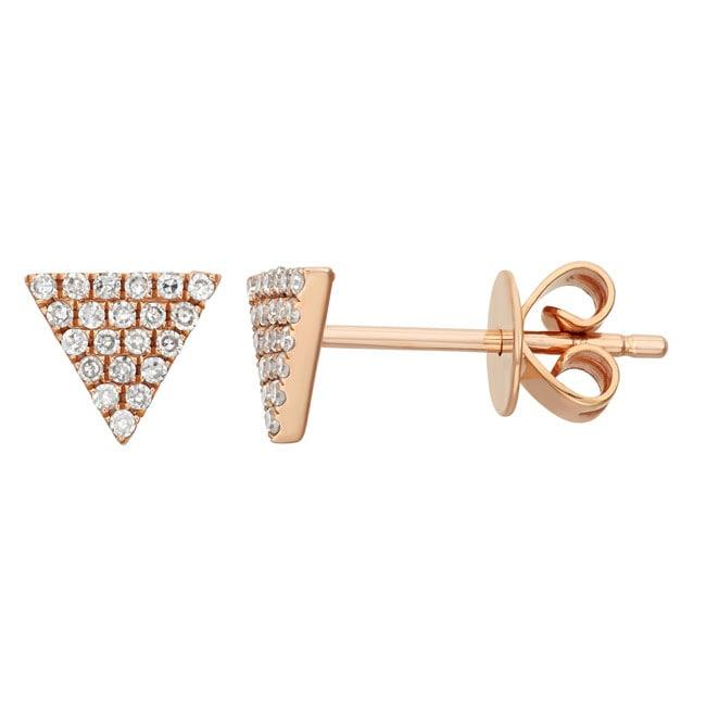 14k Gold 1/8ct TDW Diamond Triangle Earrings