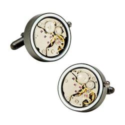 Men's Penny Black Fourty 22mm Inlaid Watch Movement Cufflinks Matte Black/Mother of Pearl