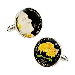 Men's Penny Black Fourty Hand Painted Buffalo Nickel Cufflinks Black