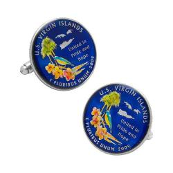 Men's Penny Black Fourty Hand Painted US Virgin Islands Coin Cufflinks Blue