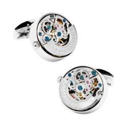 Men's Penny Black Fourty Stainless Steel Kinetic Watch Movement Cufflinks Silver
