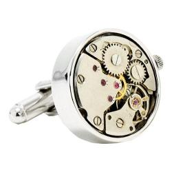 Men's Penny Black Fourty Steampunk Watch Movement Cufflinks Silver