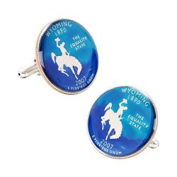 Men's Penny Black Fourty Wyoming State Quarter Cufflinks Blue