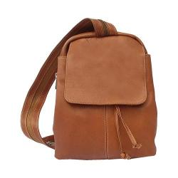 Women's Piel Leather Small Drawstring Backpack 9821 Saddle