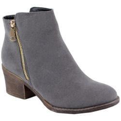Women's Reneeze Pama-01 Stacked Heel Ankle Bootie Grey