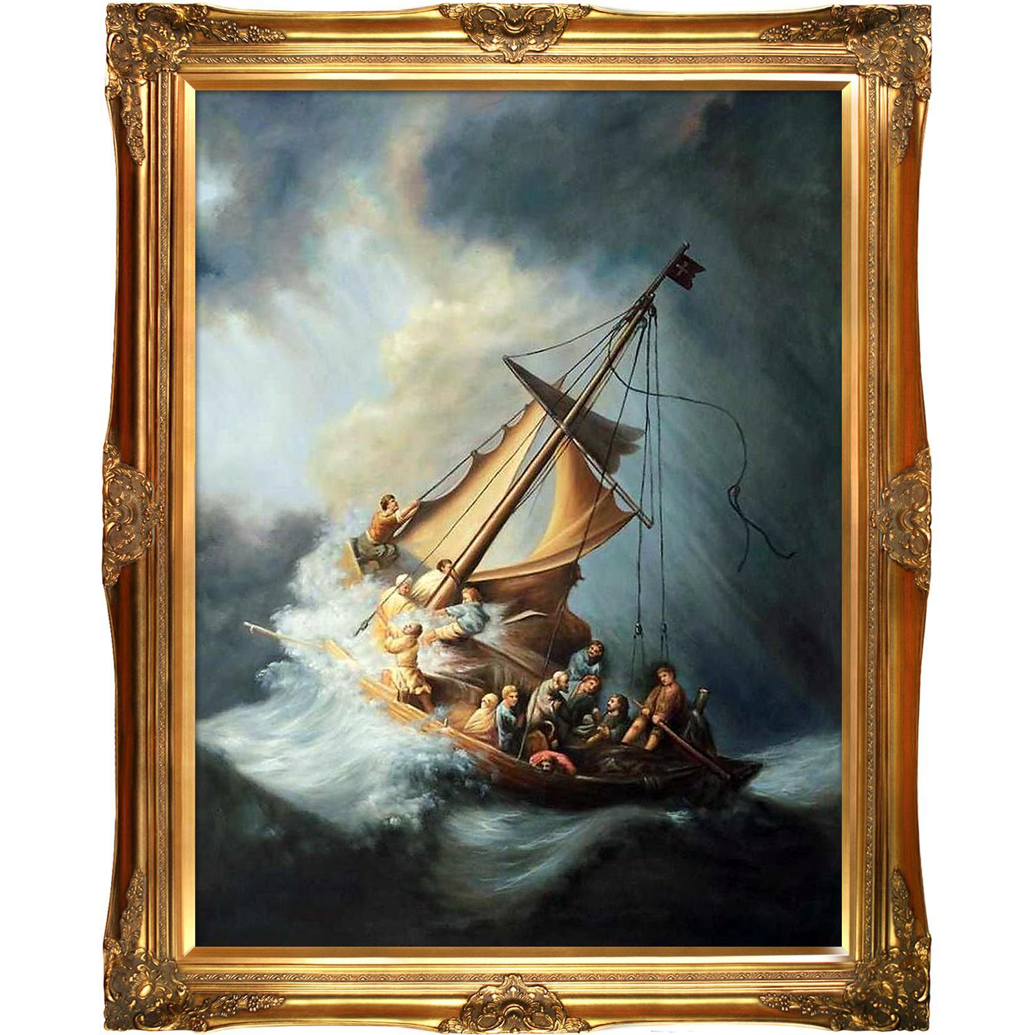 Christ in the Storm by Rembrandt Framed Hand Painted Oil on Canvas