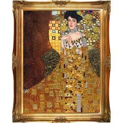 Portrait of Adele Bloch-Bauer I, 1907 by Gustav Klimt Metallic Embellished Framed Hand Painted Oil on Canvas