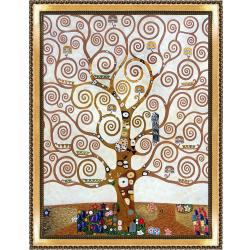 Tree of Life by Gustav Klimt Metallic Embellished Framed Hand Painted Oil on Canvas