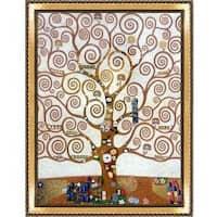 Tree of Life by Gustav Klimt Metallic Embellished Framed Hand Painted Oil on Canvas