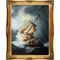 Christ in the Storm by Rembrandt Framed Hand Painted Oil on Canvas - Thumbnail 0