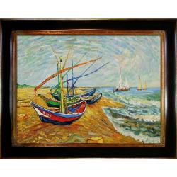 Fishing Boats on the Beach at Saintes-Maries by Vincent Van Gogh Framed Hand Painted Oil on Canvas