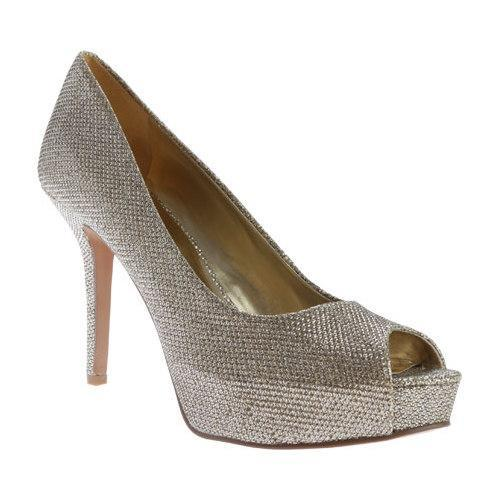 eb1737836b32 Shop Women s Nine West Qtpie 2 Peep Toe Pump Gold Sparkle Fabric - Free  Shipping Today - Overstock - 10859053