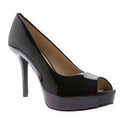 Women's Nine West Qtpie 3 Peep Toe Pump Black Lux Patent Polyurethane