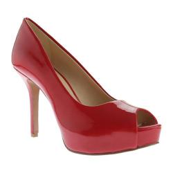 Women's Nine West Qtpie 3 Peep Toe Pump Salsa Red Lux Patent Polyurethane