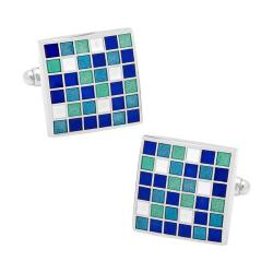 Men's Cufflinks Inc Blue Mosaic Checker Board Cufflinks Blue