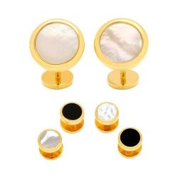 Men's Cufflinks Inc Double Sided Gold Mother of Pearl Beveled Stud Set Gold