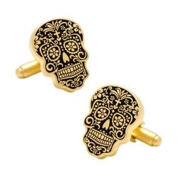 Men's Cufflinks Inc Gold Day of the Dead Cufflinks Gold