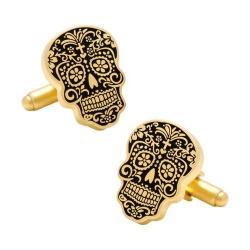 Men's Cufflinks Inc Gold Day of the Dead Cufflinks Gold