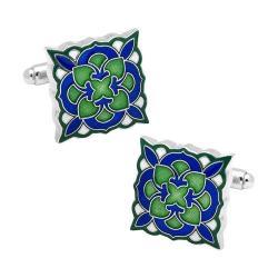 Men's Cufflinks Inc Green and Blue Deco Bloom Cufflinks Green