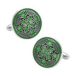 Men's Cufflinks Inc Green Firenze Petal Cufflinks Green