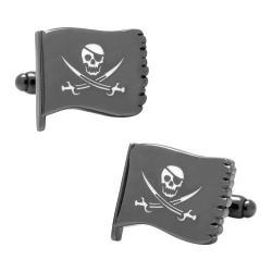 Men's Cufflinks Inc Jolly Roger Waving Flag Cufflinks Black