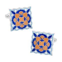 Men's Cufflinks Inc Orange and Blue Deco Bloom Cufflinks Orange