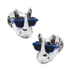 Men's Cufflinks Inc Party Animal Rhino Cufflinks Silver