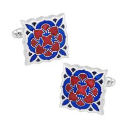 Men's Cufflinks Inc Red and Blue Deco Bloom Cufflinks Red