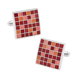 Men's Cufflinks Inc Red Mosaic Checker Board Cufflinks Red