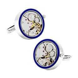 Men's Cufflinks Inc Silver & Lapis Inlaid Watch Movement Cufflinks Blue