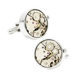 Men's Cufflinks Inc Silver Watch Movement Cufflinks Silver