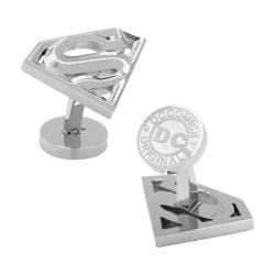 Men's Cufflinks Inc Stainless Steel Beveled Superman Shield Cufflinks Silver