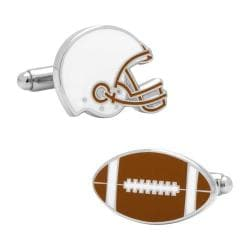 Men's Cufflinks Inc Varsity Football Cufflinks Brown/White