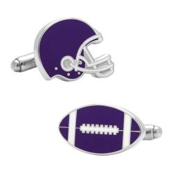 Men's Cufflinks Inc Varsity Football Cufflinks Purple/White