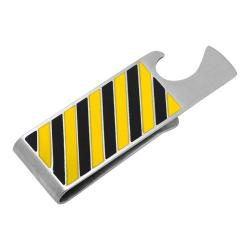 Men's Cufflinks Inc Varsity Stripes Bottle Opener Money Clip Black/Yellow