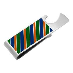 Men's Cufflinks Inc Varsity Stripes Bottle Opener Money Clip Blue/Green/Orange