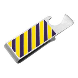 Men's Cufflinks Inc Varsity Stripes Bottle Opener Money Clip Purple/Yellow