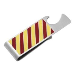 Men's Cufflinks Inc Varsity Stripes Bottle Opener Money Clip Red/Yellow