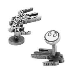Men's Cufflinks Inc X-Wing Silver Etched Cufflinks Silver