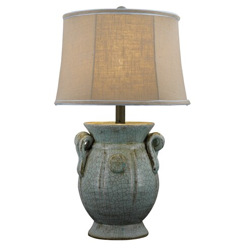 Somette Handcrafted St Tropez Urn Blue Table Lamp