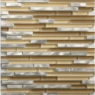 Martini Mosaic Riga Steel Mocha 12x12-inch Backsplash Tile (Set of 8 Sheets)