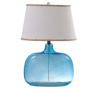 Somette Spa Burlap Shade Hand-blown Glass Table Lamp