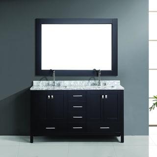 Design Element London 60-inch Espresso Double Sink Vanity Set with Mirror