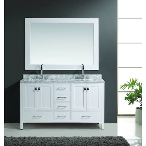 Design Element London Double Sink Vanity Set in White Finish