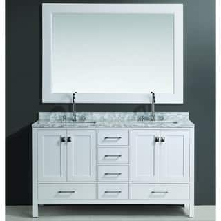 contemporary double sink vanity. Design Element London Double Sink Vanity Set in White Finish Modern Bathroom Vanities  Cabinets For Less Overstock com
