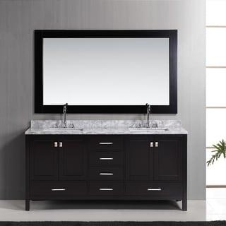 Design Element London 72-inch Espresso Double Sink Vanity Set with Mirror