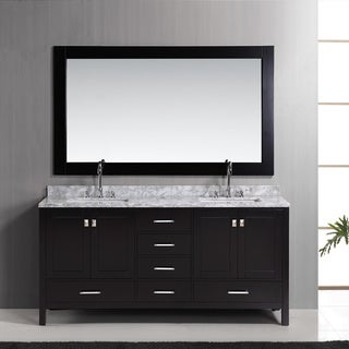 Design Element London 72-inch Espresso Double Sink Vanity Set with Mirror