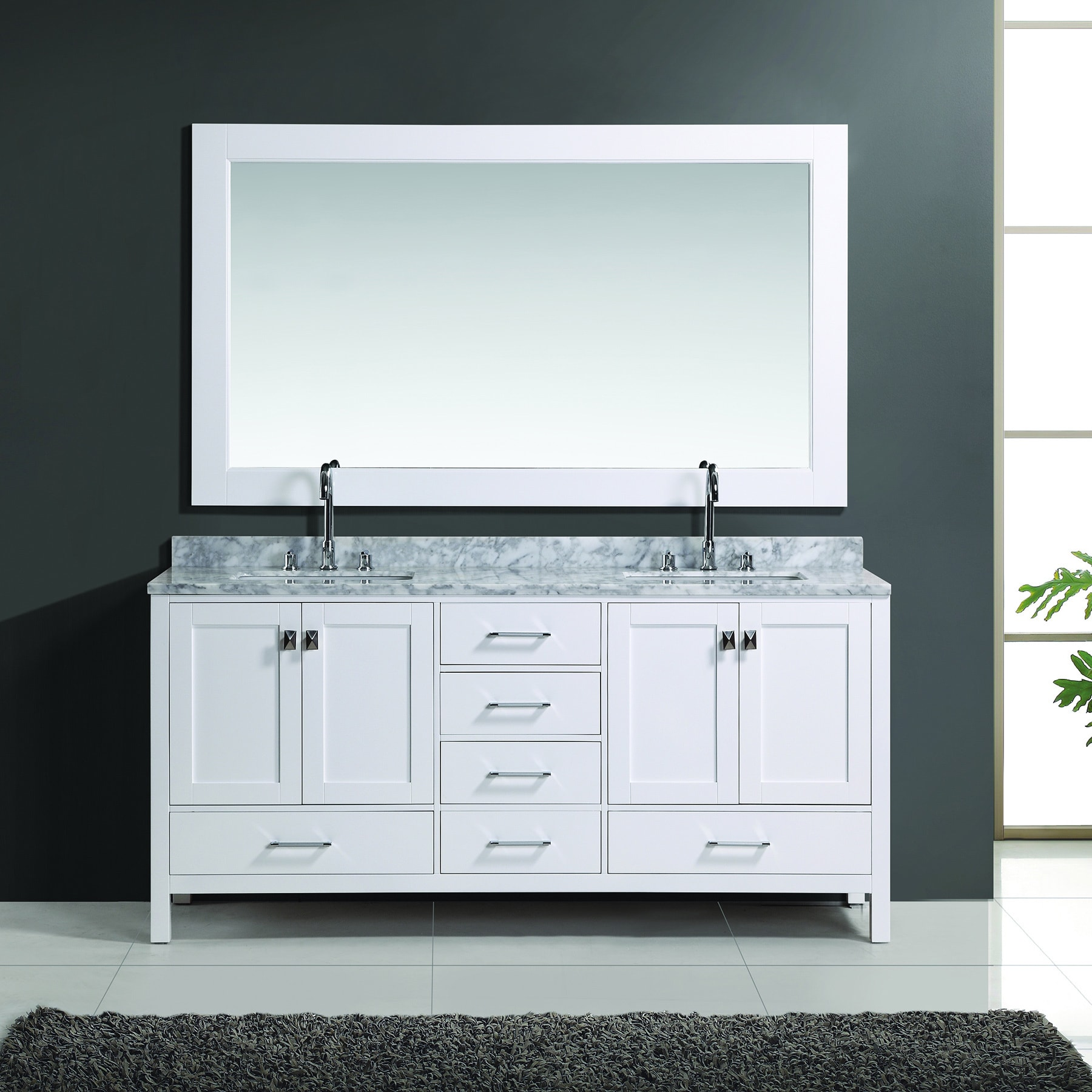 72 Inch White Finish Double Sink Vanity