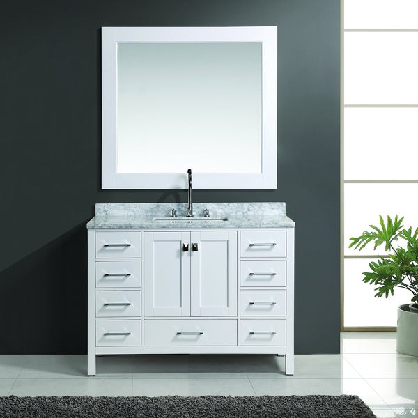 Shop design element london 48 inch white single sink for 48 inch mirrored bathroom vanity